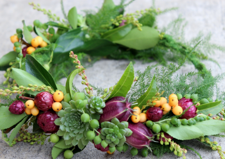 plum and gold floral crown with succulents and texture botanical couture