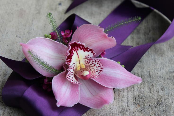 purple pink orchid ribbon wrist corsage