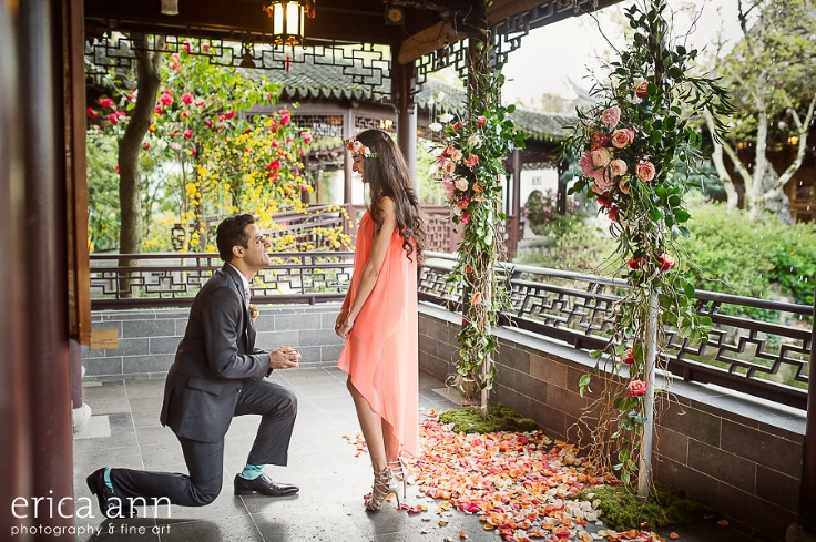 floral backdrop wedding proposal portland oregon engagement lan su garden
