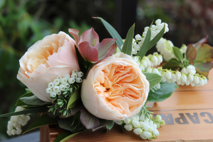 peach garden roses floral crown with hellebores
