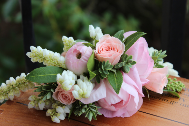 blush pink floral crown with ranunculus and roses