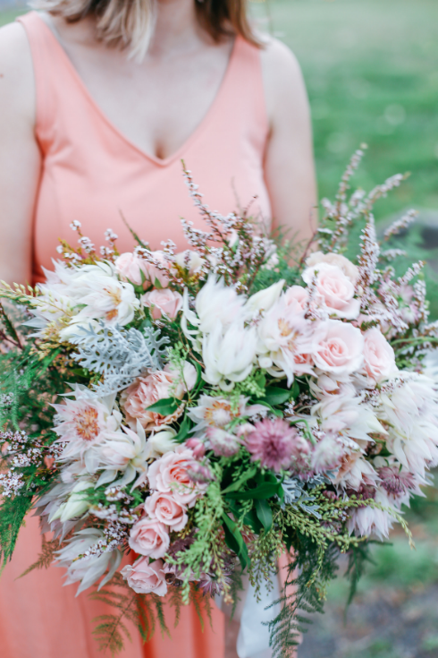 spotted stills photography sophisticated floral designs bridal bouquet blush pink peach mauve gray