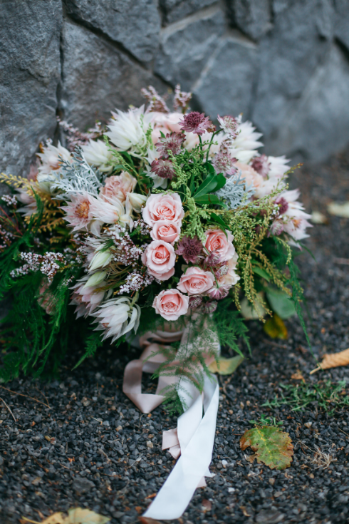 spotted stills photography sophisticated floral designs portland oregon wedding florist bridal bouquet mauve blush peach gray silk ribbon