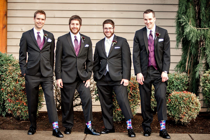 purple gray wedding flowers groomsmen boutonnieres sophisticated floral