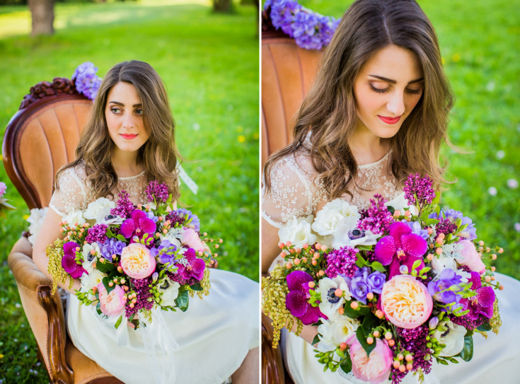 purple lavender gardem rose bouquet sophisticated floral portland oregon