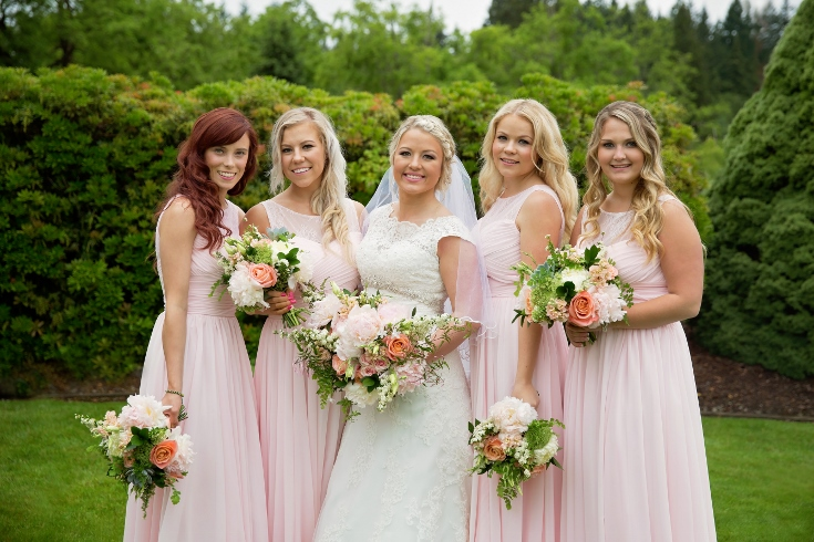 blush pink wedding flowers bridal party wedding bouquet sophisticated floral