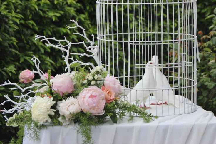 ceremony flowers decor wedding doves blush pink peonies sophisticated floral