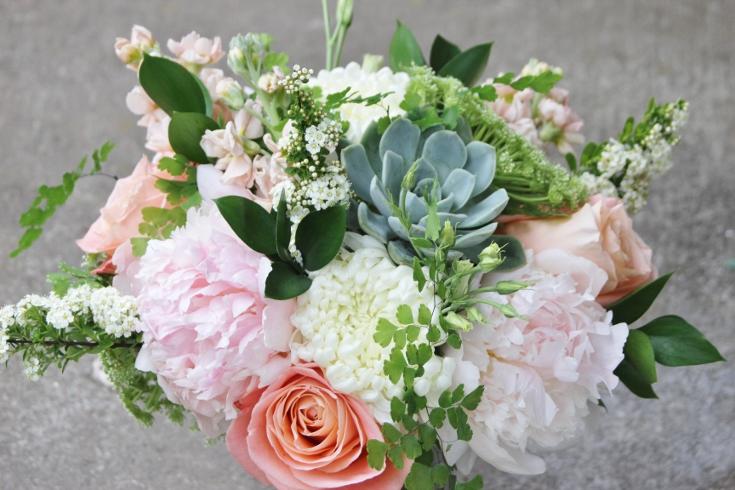 bridesmais bouquet wedding flowers succulent peony garden style sophisticated floral