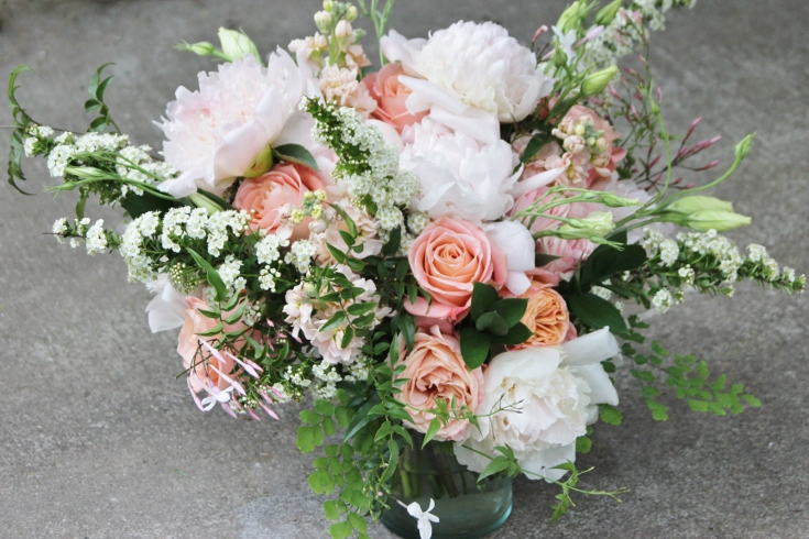 bridal bouquet peach blush pink peony garden roses spirea sophisticated floral