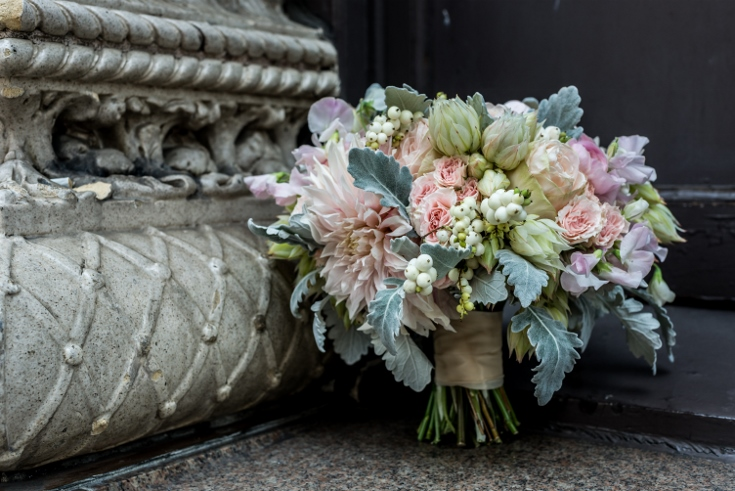 blush pink and gold gray cafe dahlia bridal bouquet sophisticated floral designs