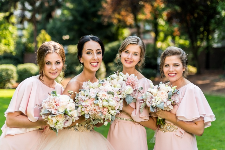 bridal bouquet wedding party bridesmaids flowers sophisticated floral designs