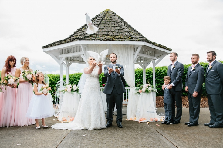 wedding ceremony dove release sophisticated floral
