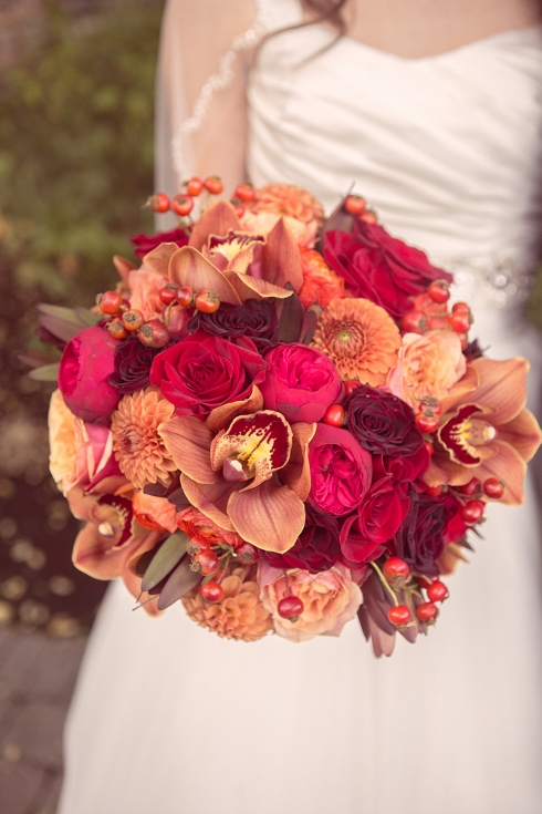 fall wedding flowers bridal bouquet orange red sophisticated floral abernathy center wedding