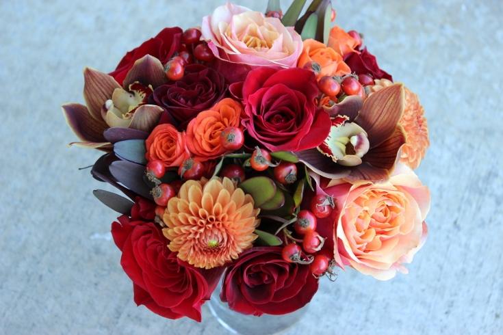 bridesmaids bouquet orchids roses dahlia sophisticated floral