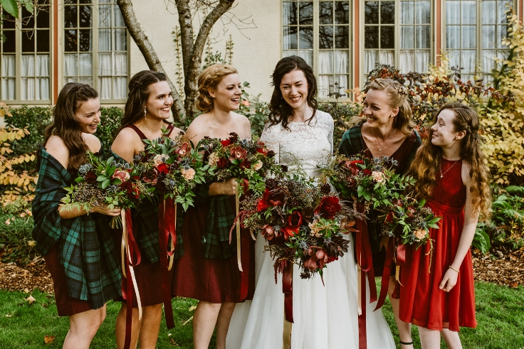 sophisitcated floral designs bridal party bouquets