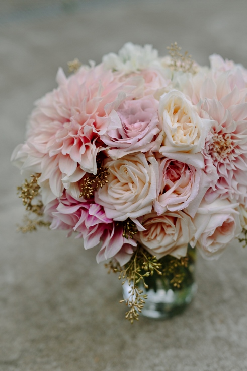 sophisticated floral bridal bouquet wedding flowers blush pink and gold