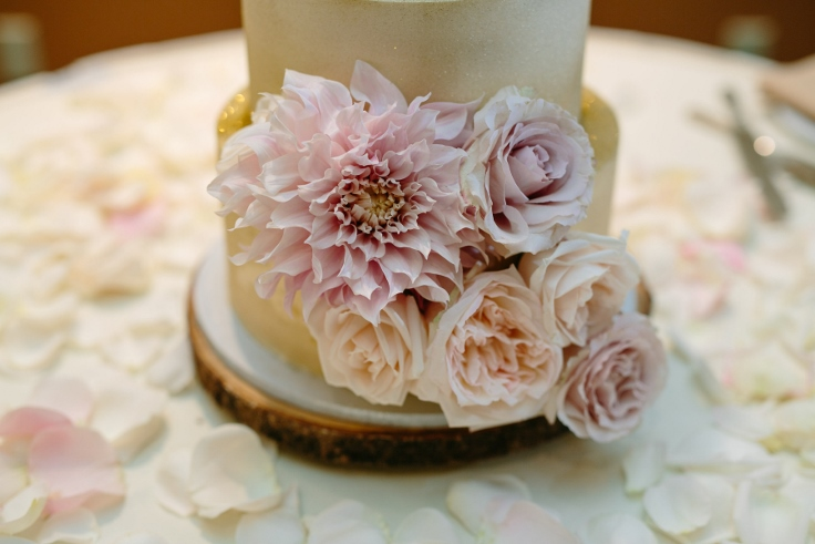 sophisticated floral designs wedding cake gold blush kyras bakeshop