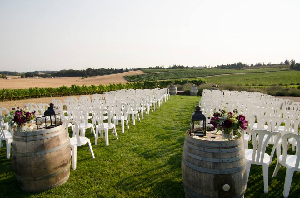 wine barrel wedding ceremony wine country oregon weddings methven vineyard sophisticated floral