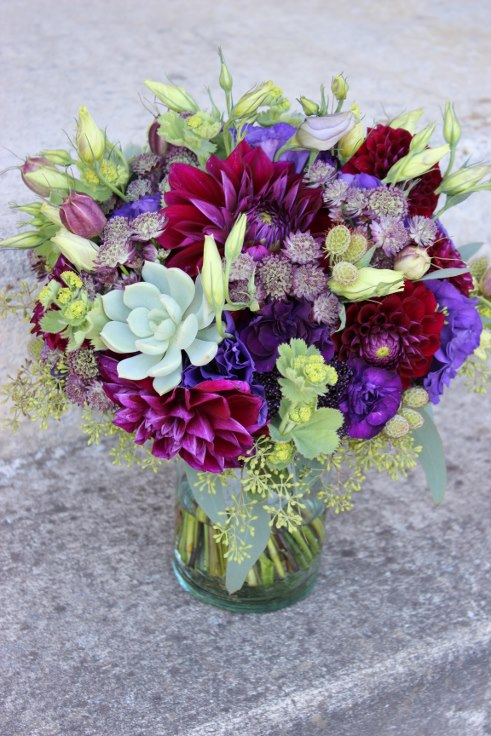sophisticated floral designs portland oregon wedding flowers purple bridal bouquet