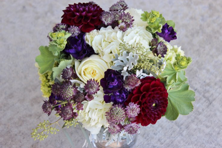 bridesmaids bouquet sophisticated floral designs dahlia astrantia roses bridal bouquet