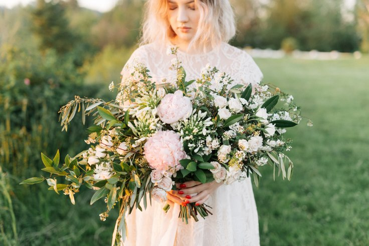 sophisticated floral designs portland oregon wedding florist peony bridal bouquet organic asymmetrical