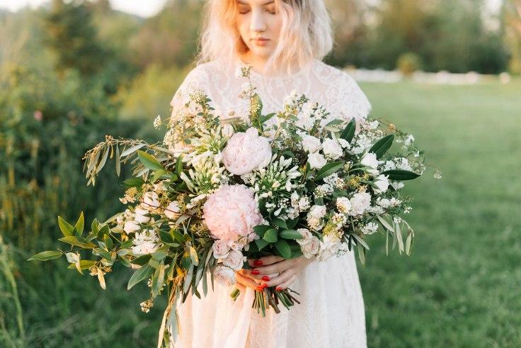 sophisticated floral designs portland oregon wedding florist peony bridal bouquet organic asymmetrical