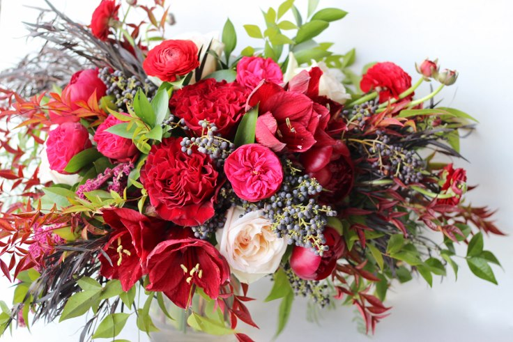 lush oversized bridal bouquet burgundy and navy color palette sophisticated floral designs portland oregon