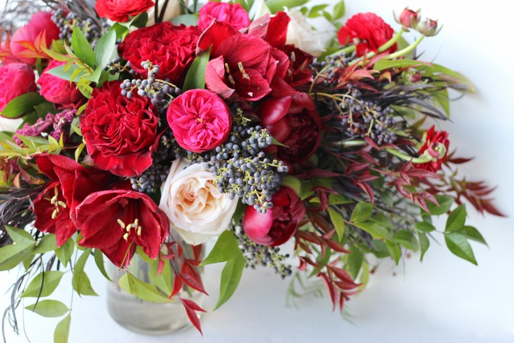 sophisticated floral designs portland oregon wedding florist fall bridal buquet in burgundy red