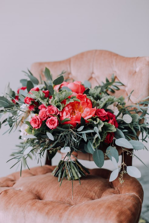 sophisticated floral designs portland florist coral charm peony bridal bouquet 2019 color of the year living coral