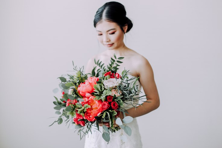 sophisticated floral designs portland wedding florist bridal bouquet coral charm peony blueberries scented geranium 2019 color of the year living coral