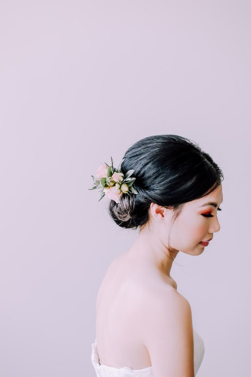 sophisticated floral designs portland wedding florist bridal updo fresh flowers for your hair