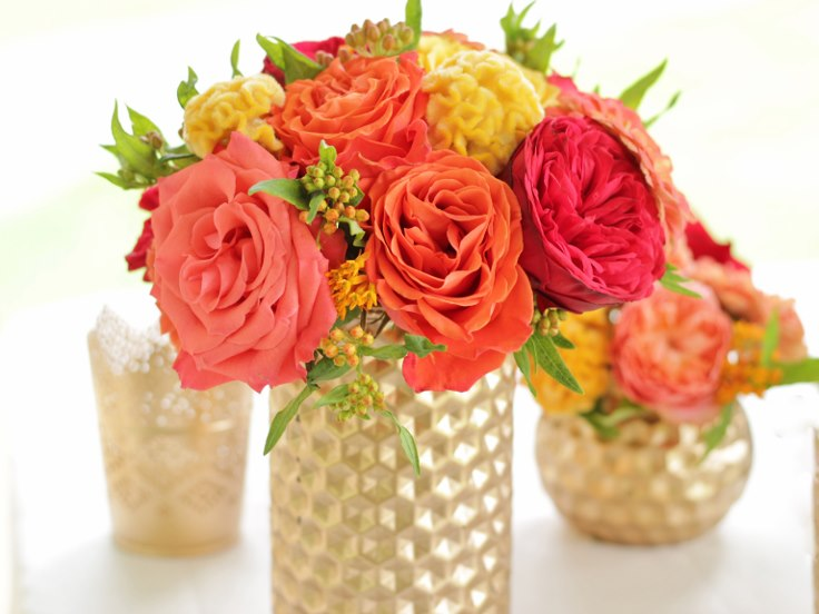sophistiated floral designs portland oregon wedding florist indian wedding flowers gold geometric moden vase