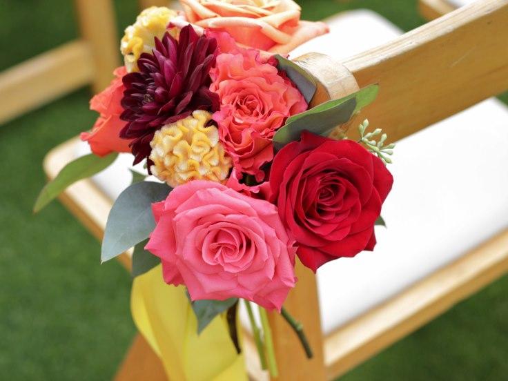sophistiated floral designs portland oregon wedding florist chair aisle flowers pew decor