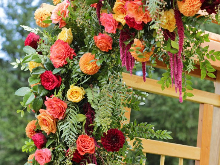 sophistiated floral designs portland oregon wedding florist weddign arbor flowers asymmetrical wedding arch