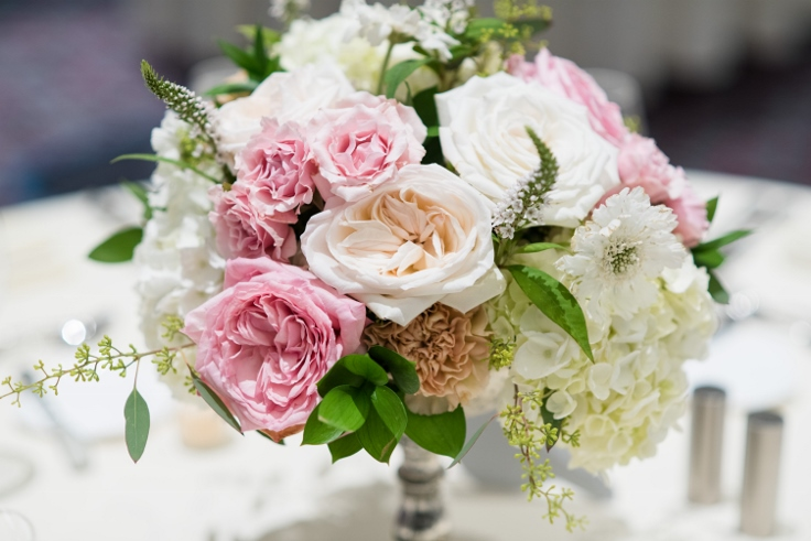sophisticated floral designs portland oregon wedding florist Nines Hotel garden rose silver mercury glass centerpiece