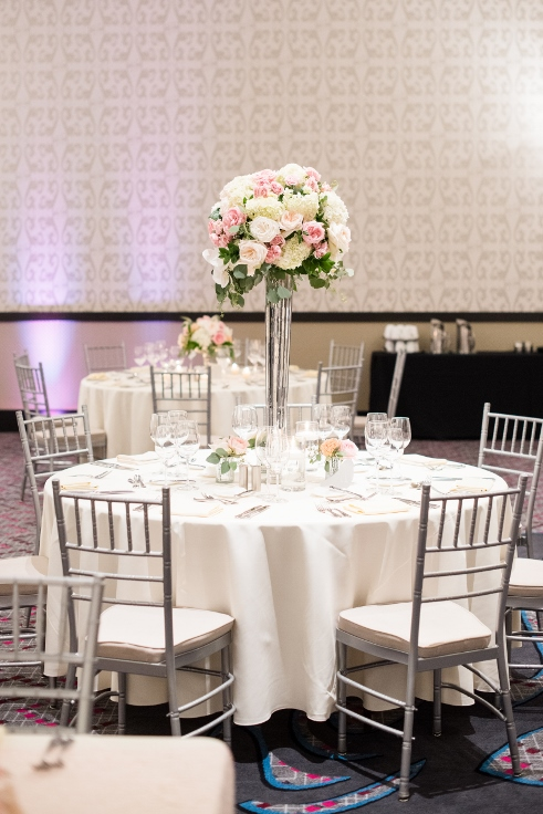 sophisticated floral designs portland oregon wedding florist Nines Hotel tall elevated centerpiece