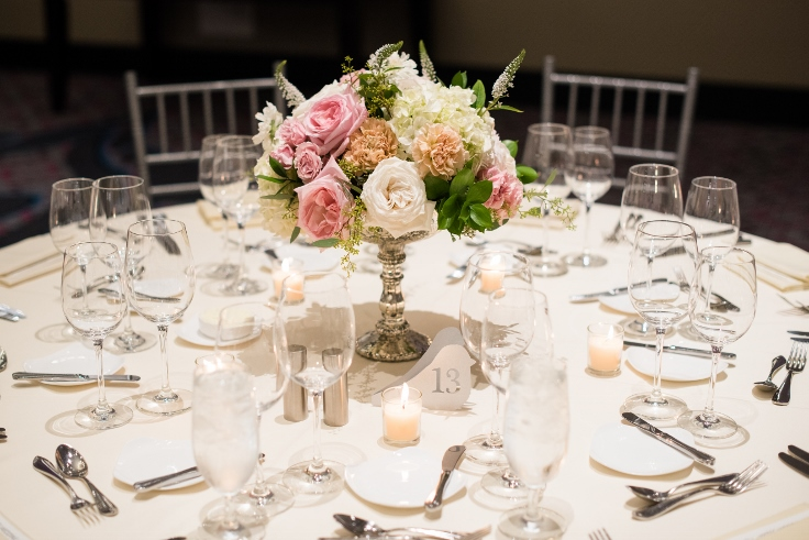 sophisticated floral designs portland oregon wedding florist Nines Hotel table flowers