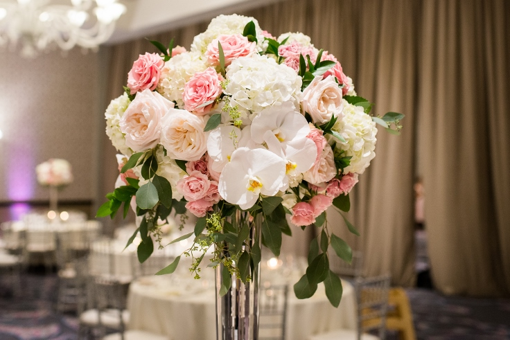 sophisticated floral designs portland oregon wedding florist Nines Hotel elegant modern classic tall elevated centerpiece with rose orchids and hydrangea
