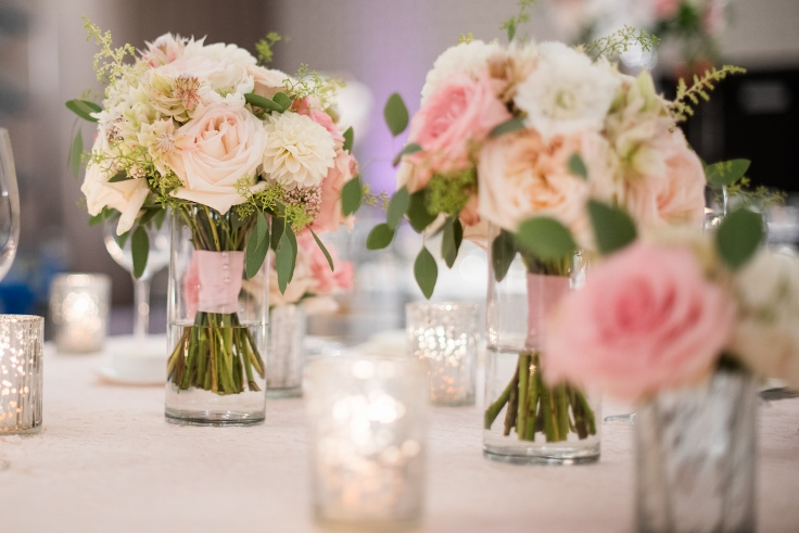 sophisticated floral designs portland oregon wedding florist Nines Hotel head table bouquets