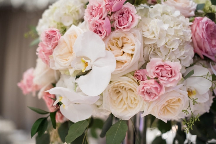 sophisticated floral designs portland oregon wedding florist Nines Hotel wedding centerpiece with orchids blush pink