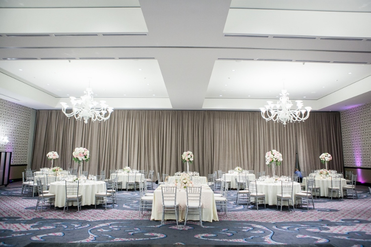 sophisticated floral designs portland oregon wedding florist Nines Hotel ballroom wedding