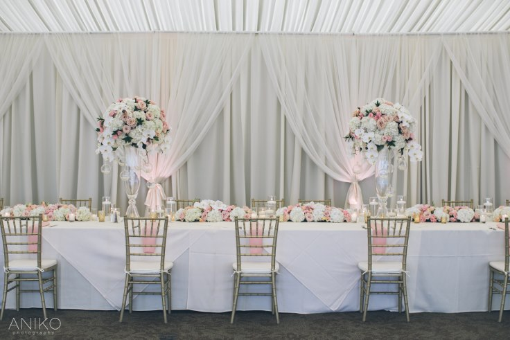 sophisticated floral designs portland oregon wedding florist-oregon-golf-club-wedding-aniko head table flowers candles tall centerpiece blush and gold