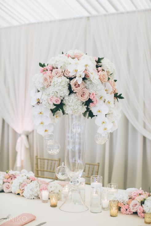sophisticated floral designs portland oregon wedding florist-oregon-golf-club-wedding-anikoluxury wedding flowers floral design orchids roses elevated floral arrangement centerpiece head table