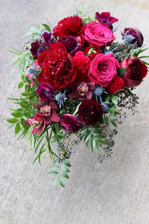 sophisticated floral designs portland oregon wedding florist plum purple burgundy navy wine berry colored bouquet annemone peony ranunculus