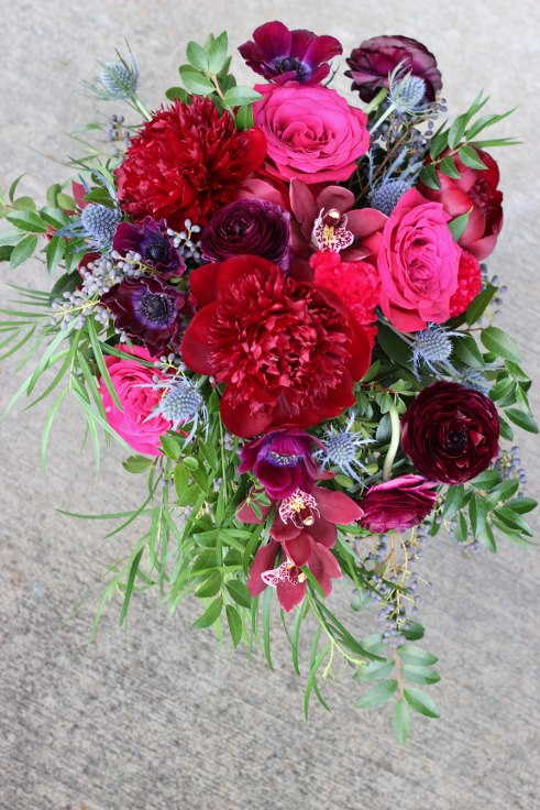 sophisticated floral designs portland oregon wedding florist plum, wine, burgundy peony bouquet