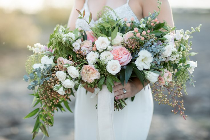 cascading wedding bouquet - amazing bouquet with pink and blue shades, made with berries, peonies, liasianthus and gum flower