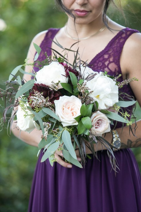 sophisticated floral designs portland oregon wedding florist sentinel hotel george street photo bridal bliss wedding planning blush and plum bridesmaids dahlia and peony bouquet