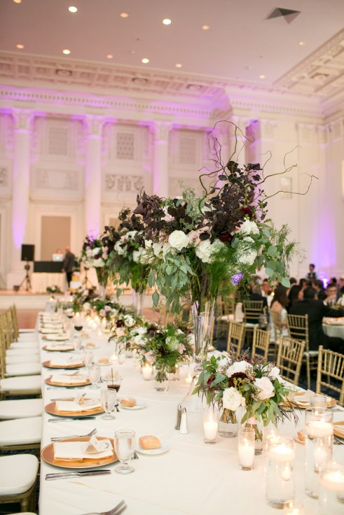 sophisticated floral designs portland oregon wedding florist sentinel hotel george street photo bridal bliss wedding planning head table floral tall evevated centerpieces