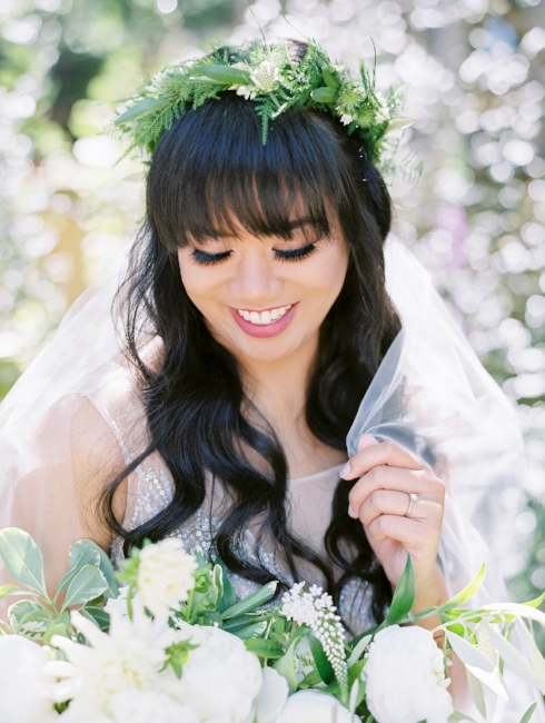 sophisticated floral designs portland oregon wedding florist floral crown foliage greenery