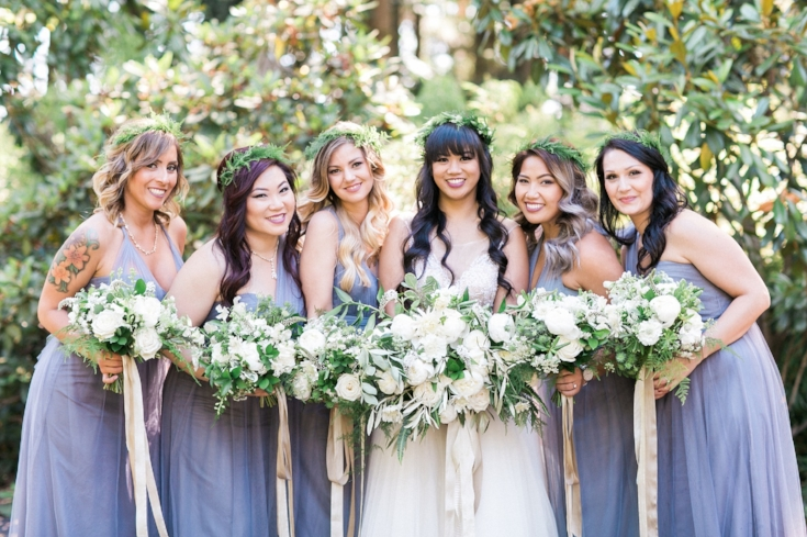 sophisticated floral designs Mcmenamins Roadhouse bridal party flowers floral crowns bridesmaids